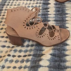 Mission Lace Up Nude Block Heels